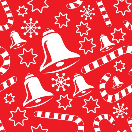 Seamless pattern with christmas bells, candy canes, snowflakes and stars. Vector illustration for your design. Vector