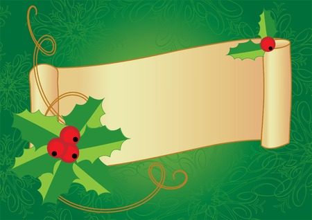 Christmas banner with holly, berries and vintage scroll on a textured background. Vector illustration. Vector