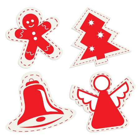 Christmas icon set with ginger bread, christmas tree, little bell and angel for your design. Vector illustration. Vector