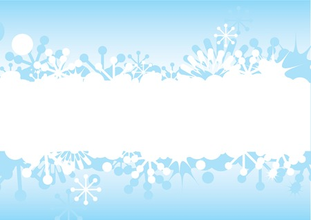Blue Christmas and New Years frame with snowflakes, stars and space for text. Vector illustration. Vector