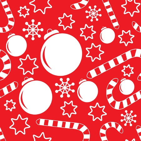 Seamless pattern with christmas decorations, candy canes, snowflakes and stars. Vector illustration for your design. Vector