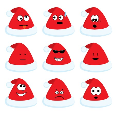 Cartoon santas hats set with different emotions for your christmas design. Vector illustration. Vector