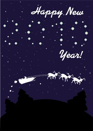 New Year's illustration with starry night and santa's sledge. Vector illustration. Stock Vector - 6080667