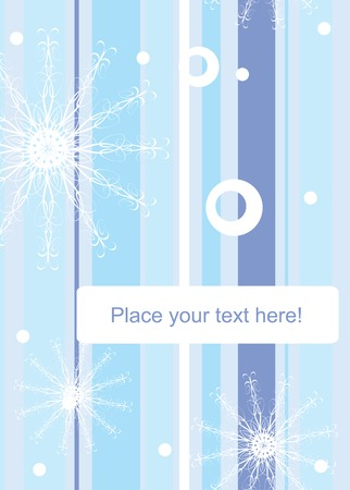 Striped winter background with snowflakes and space for your text. Vector illustration. Vector