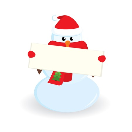 Cute little snowman with banner for your text. Vector illustration. Vector