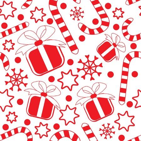 canes: Seamless pattern con doni, canne di caramella, fiocchi di neve e le stelle. Illustrazione vettoriale.