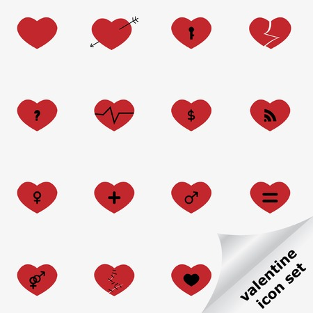 gash: Valentine icon set with hearts.
