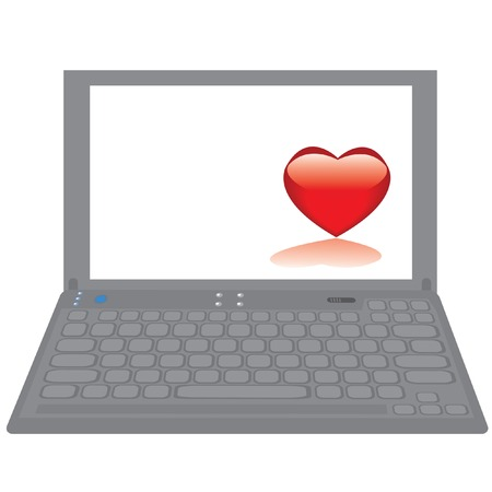Notebook computer with red heart on a desktop.  Stock Vector - 6251328