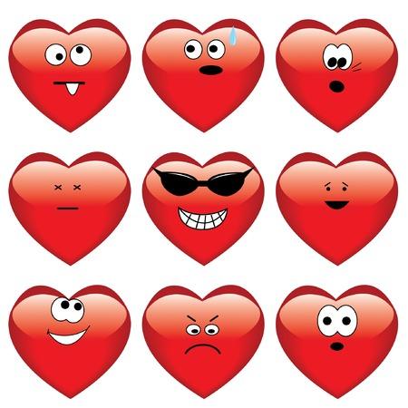 Set of nine cartoon hearts. Stock Vector - 6251329