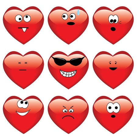Set of nine cartoon hearts.  Vector
