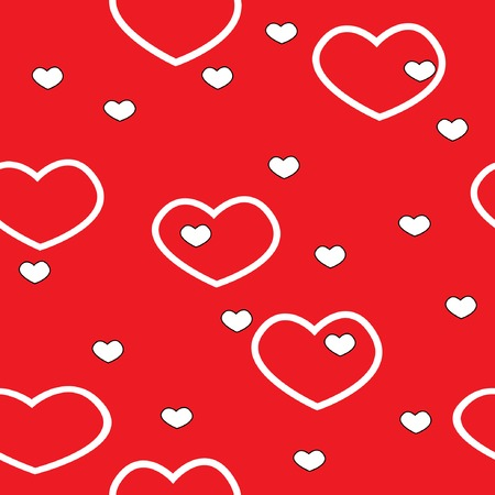 valentine seamless pattern with hearts on red background  Vector