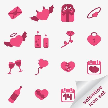 Valentine icon set. Vector illustration. Stock Vector - 6356020