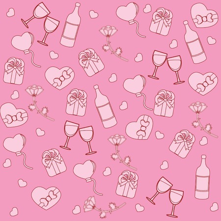 Seamless pattern with st. valentine stuff. Vector illustration Vector