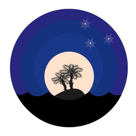 Two palm-trees at night. Vector illustration. Vector