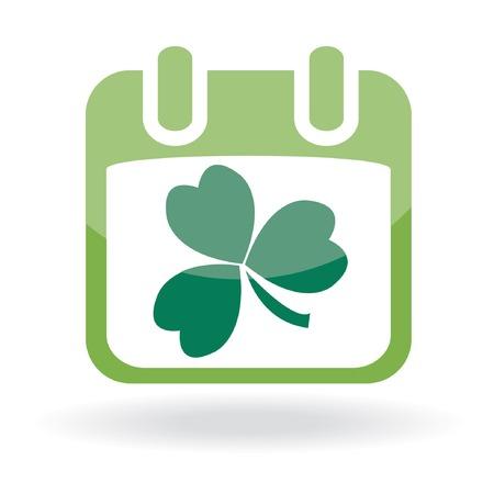 calendar icon: Calendar with clover leaf. St. Patricks day icon.