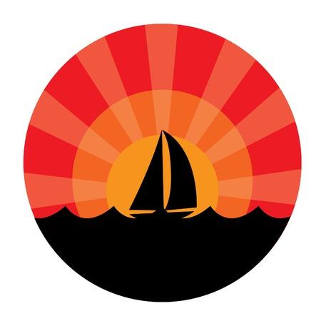 Yacht silhouette on sunset background.  illustration Stock Vector - 6531814