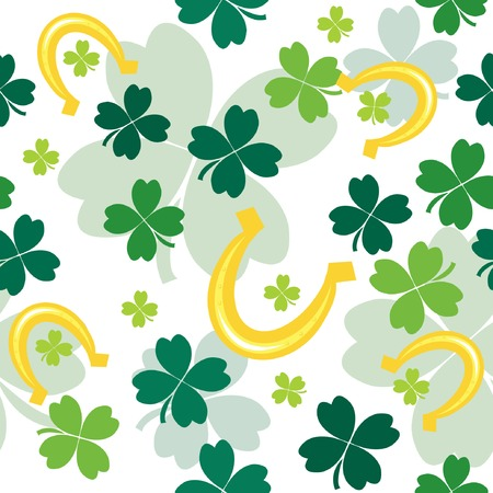 Seamless pattern with clover leaves and horseshoes. illustration Stock Vector - 6531813