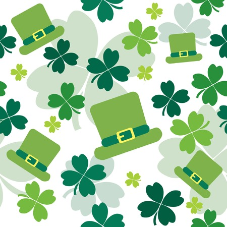 Seamless pattern with shamrocks and irish hats. illustration Stock Vector - 6531807