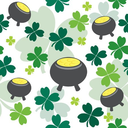 Seamless pattern with pot full of gold.  illustration Stock Vector - 6531808