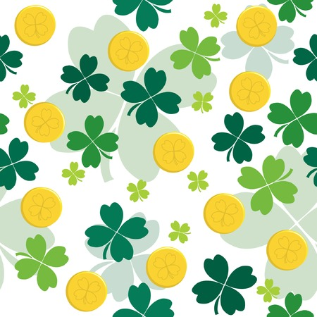 Seamless pattern with gold coins and clover leaves. illustration Stock Vector - 6531811