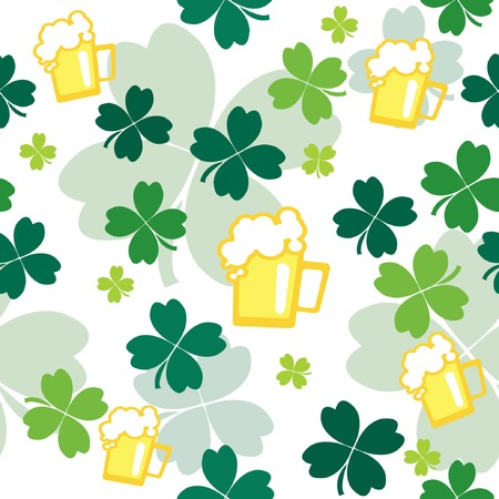 Seamless pattern with beer and clover leaves. illustration. Vector