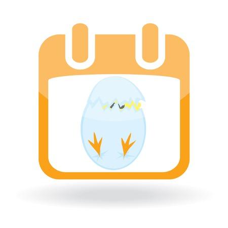Easter icon - calendar with broken egg. Vector illustration Stock Vector - 6721236