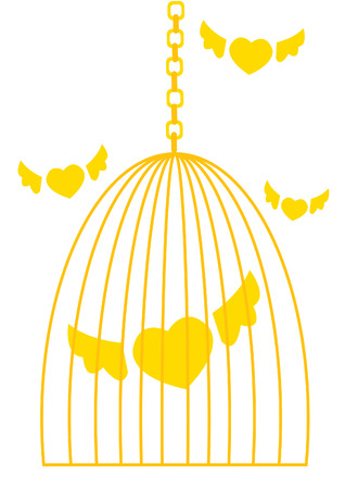 Cage with flying hearts.  Vector