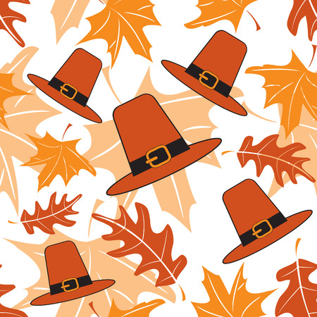 Autumnal seamless puttern with pilgrim hats  Vector