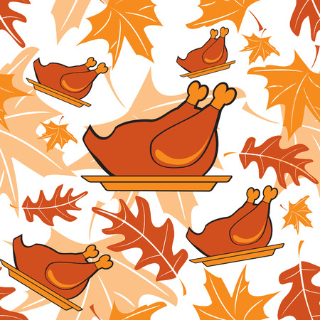 Autumnal seamless pattern with turkeys  Vector