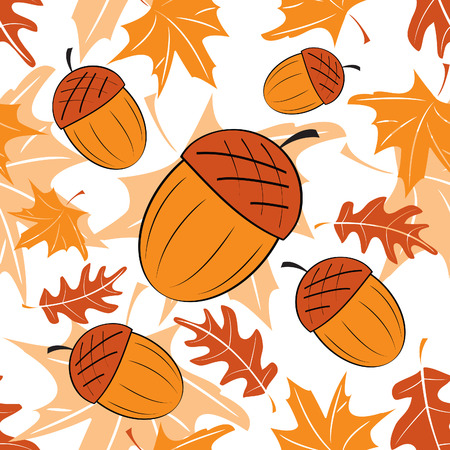 Seamless autumnal pattern with acorns  Vector