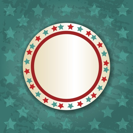 Retro round frame on blue background with stars Vector