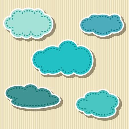 Set of cloud-shaped paper tags. Vector illustration Illustration