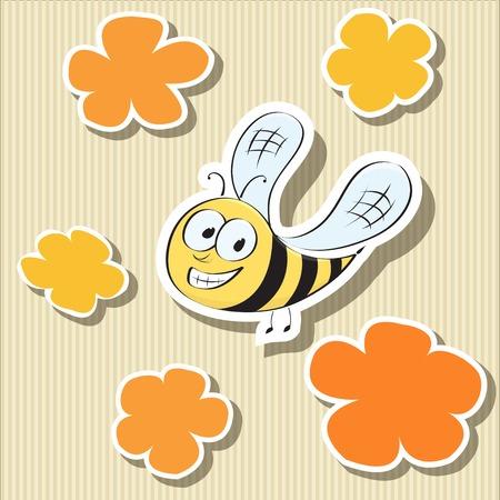 abeja caricatura: Conjunto de elementos de etiquetas de papel en forma de flor y la ilustración de abeja de la historieta del vector Vectores
