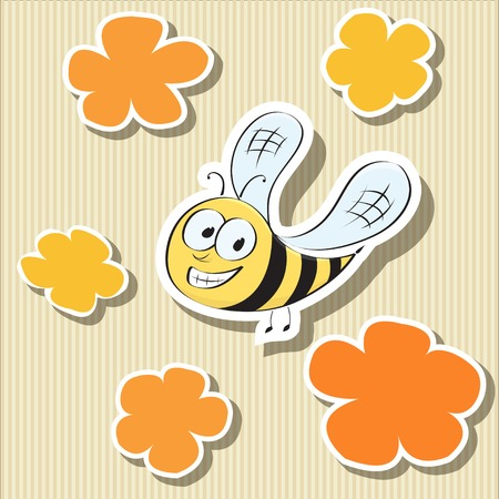 bee on white flower: Set of elements  flower-shaped paper tags and cartoon bee  Vector illustration