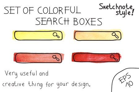 Set of colorful  search boxes  Vector illustration  Sketchnote style Vector