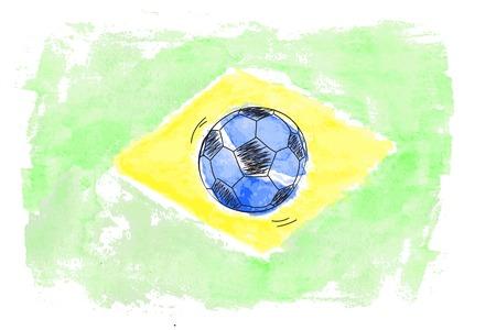 brasil: Soccer ball and watercolor flag of Brasil. Vector illustration Illustration