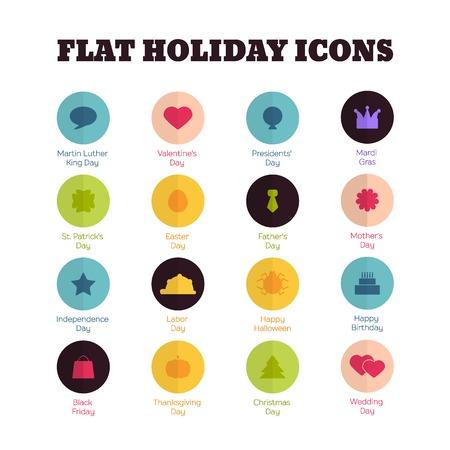 thanksgiving day symbol: Set di icone piane per le principali festivit� nazionali Vettoriali