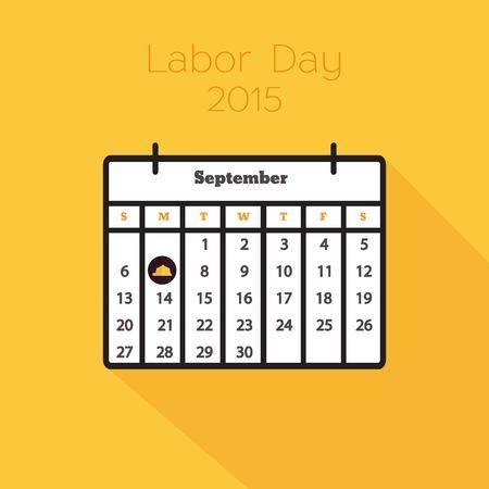 labor day: Flat holiday calendar icon