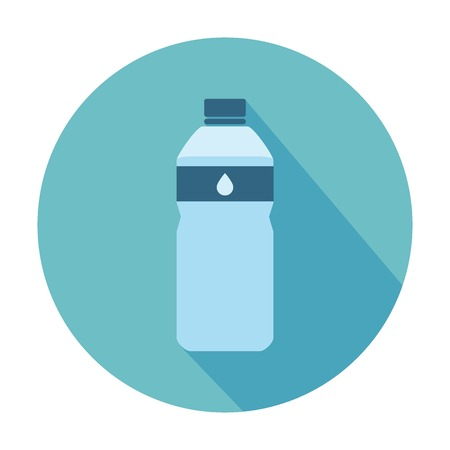 bottle water: Flat Style Icon with Long Shadow Illustration