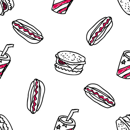american food: Seamless pattern with doodle fast food Illustration