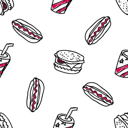 junk food fast food: Seamless pattern with doodle fast food Illustration