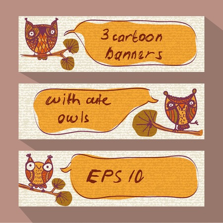 Three cartoon banners with doodle owls Vector