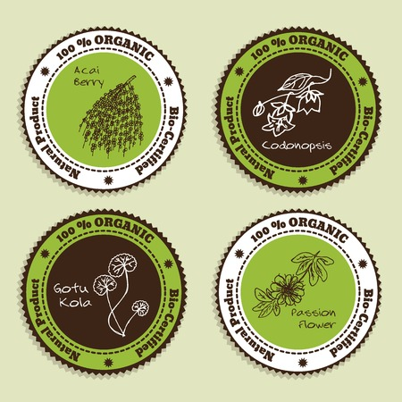 passion ecology: Set of Natural Organic Product badges