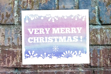 very: Very Merry Christmas on the wall  Illustration