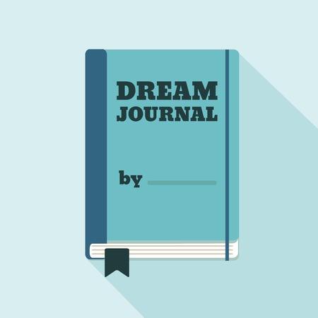 corsi di formazione: Appartamento Icona di stile con una lunga ombra. Un giornale di sogno. Concetto per l'istruzione lifestyle psicologia, corsi di formazione, auto-sviluppo e how-to articoli