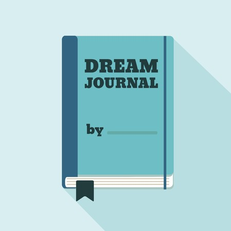 Flat Style Icon with Long Shadow. A dream journal. Concept for psychology lifestyle education, training courses, self-development and how-to articles