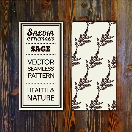 officinalis: Health and Nature Collection. Banner template with herbal seamless pattern on wooden background. Sage - Salvia officinalis Illustration