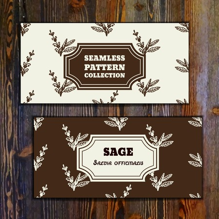 officinalis: Health and Nature Collection. Banner templates with herbal seamless pattern on wooden background. Sage - Salvia officinalis Illustration