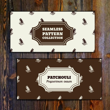 insect repellent: Health and Nature Collection. Banner templates with herbal seamless pattern on wooden background. Patchouli  - Pogostemon cablin