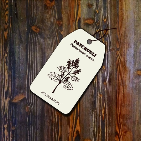 insect repellent: Health and Nature Collection. Tag template with a herb on wood background. Patchouli  - Pogostemon cablin